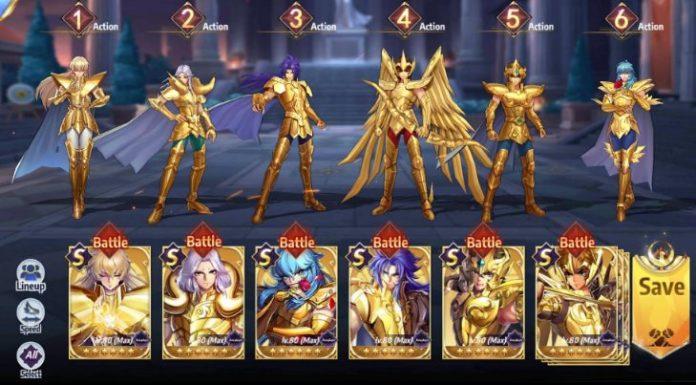Caballeros de oro en Saint Seiya Awakening