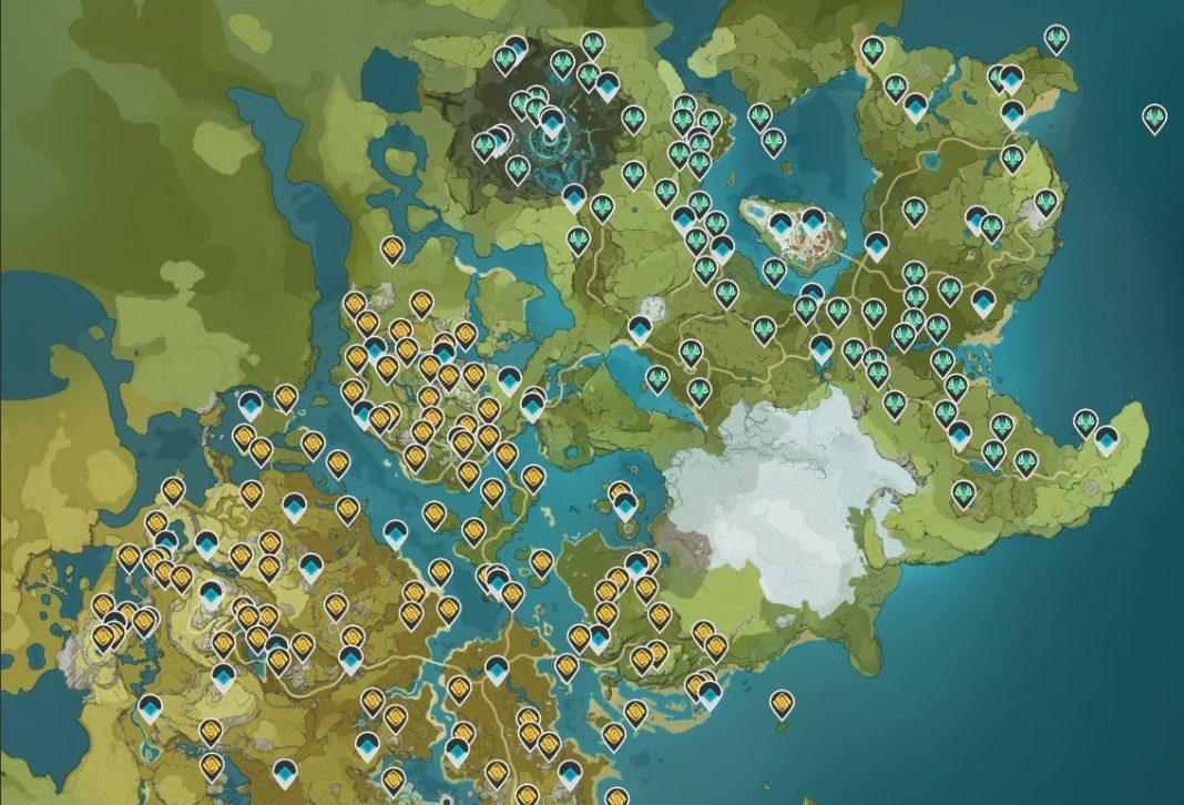 Mapa de recursos de Genshin Impact
